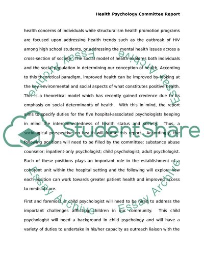 Health Psychology Committee Report
