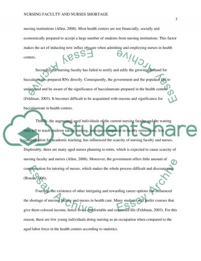 Nursing Faculty and Nurses Shortage essay example