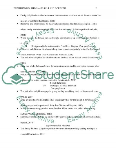Comparing social behavior between fresh H2O dolphins and salt H2O Dolphins essay example