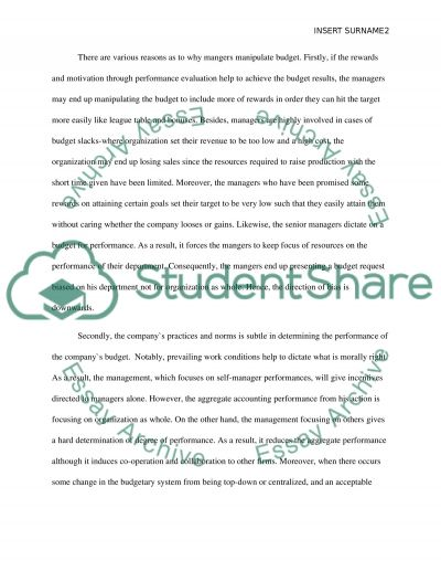 Management accounting-Bias Budgets essay example
