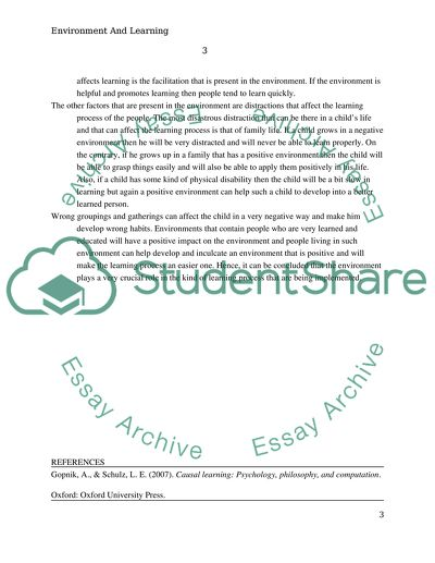 Role of Environment in Learning