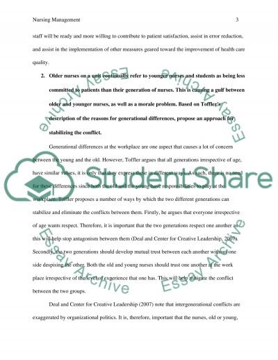 Nursing management essay example