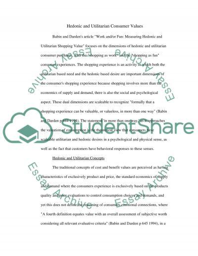 Consumer Values essay example