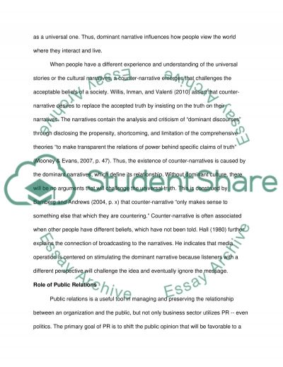 The relationship of PR on the Dominant, Counter-Narrative and Power essay example