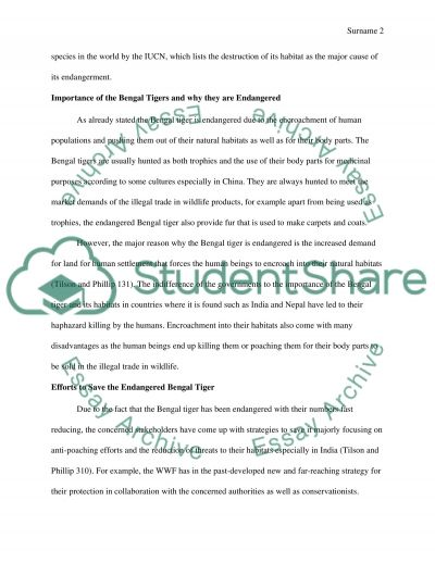 An endangered species essay example
