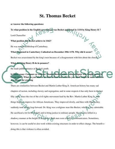 Synthesis Essay Prompt Thomas Becket How To Write An Essay Proposal Example also Interview Essay Paper Thomas Becket Essay Example  Topics And Well Written Essays   Words Example Essay Thesis Statement