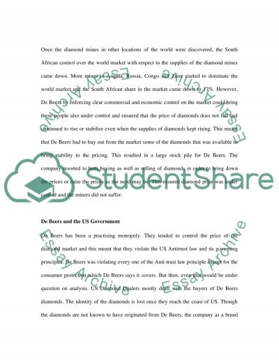 De Beers and US Anti Trust Law essay example