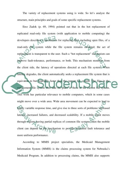 Replacement Systems essay example