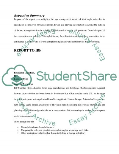 Essay on International business finance report essay example