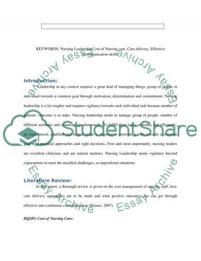 Nursing Leadership essay example