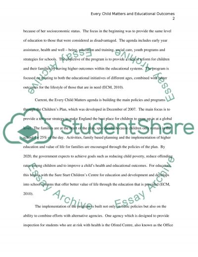 Every Child Matters and Educational Outcomes essay example