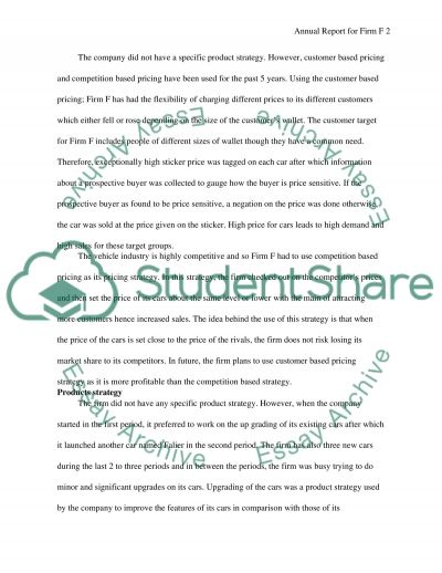 Annual Report for Firm F essay example