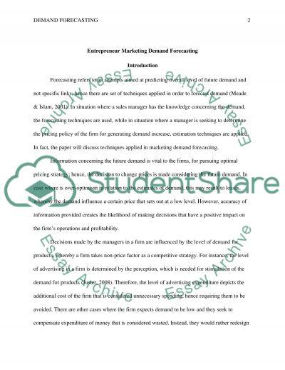 Entrepreneur Marketing: Demand Forecasting essay example
