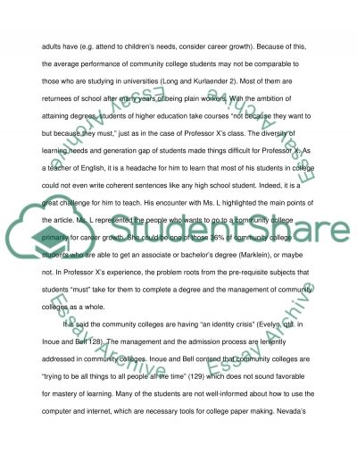 The Burden on Ivory Tower in Community Colleges essay example