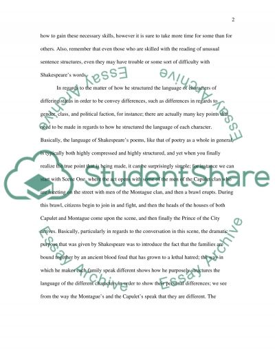 Romeo and Juliet Shakespeare essay example