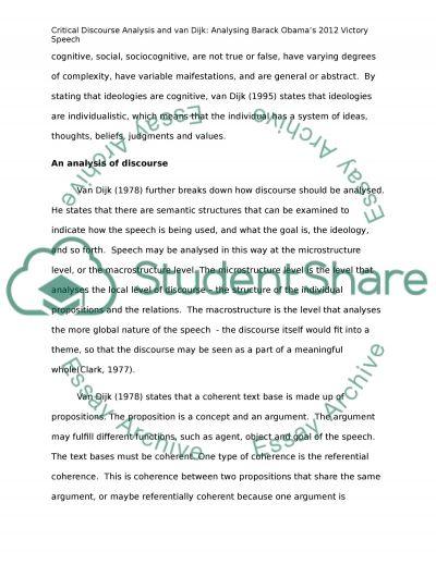 Critical Discourse Analysis for Obamas 2012 cictory speech essay example
