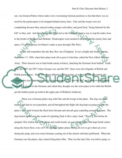 Oral History Project essay example