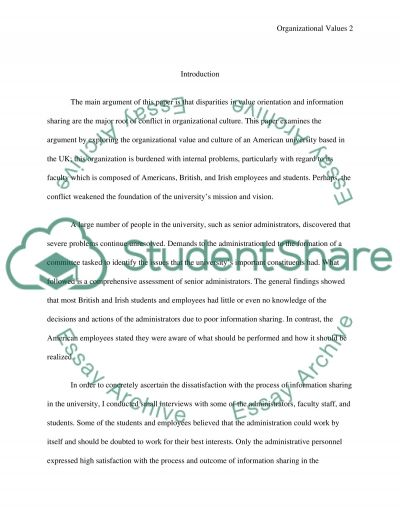 Organization values Paper essay example