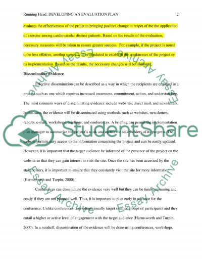 Developing an evaluation plan essay example
