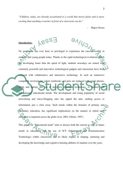 Educational Trends Education Research Paper essay example
