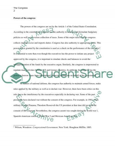 The Congress essay example