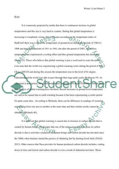 Global warming : myth or reality essay example