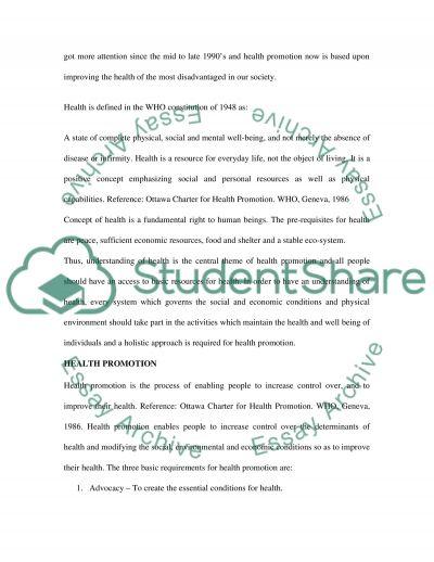 Health promotion Essay essay example