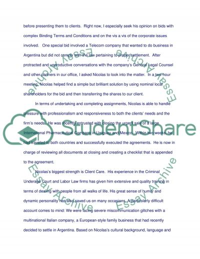 Recommendation letter for admission