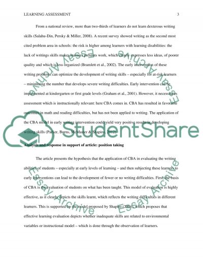 Articles on Learning Assessment essay example