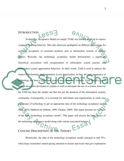 Technology acceptance model (TAM) essay example
