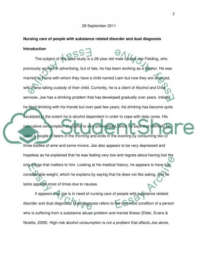 Nursing Care of People with Substance Related Disorder and Dual Diagnosis essay example