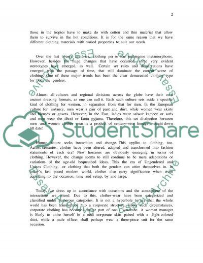 Clothing essay example