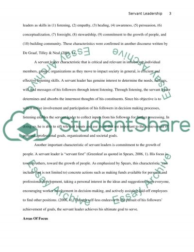 Characteristics of Servant Leadership essay example
