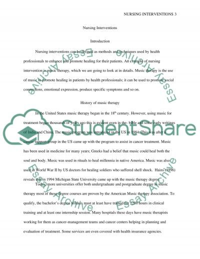 Nursing Intervention essay example