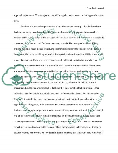 Marketing Myopia essay example