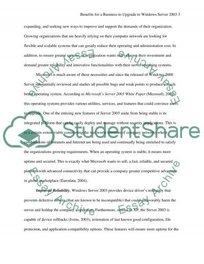 Windows Server 2003 essay example