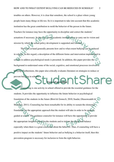 effect of bullying in schools essay The problem of school bullying one of the most important periods in an individual's life is, without doubt, their school years school is a place where children and teenagers socialize, obtain different social skills, and prepare themselves for their future life and career.
