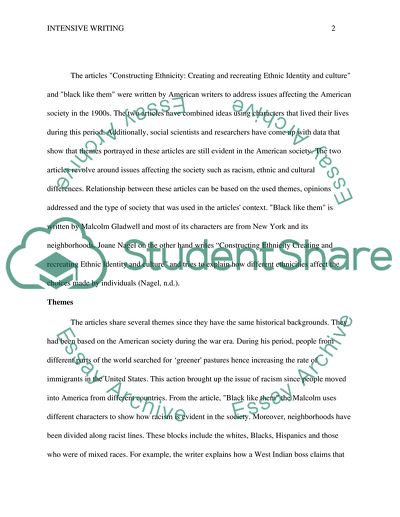 Intensive Writing - Relationship between two Articles
