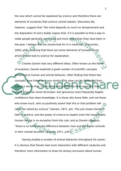 Descartes and Darwin essay example
