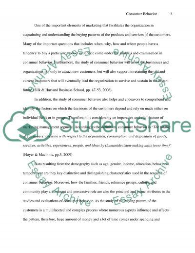 Consumer behaviour essay example