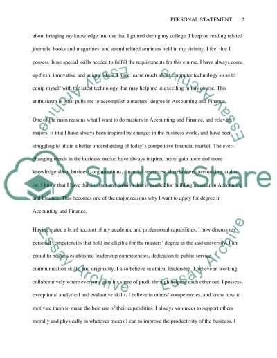 Personal statement essay example