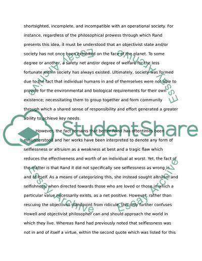 Ayn rand essay example