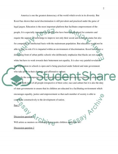 Journal about the text, Shame of the Nation, pages 1-37 essay example