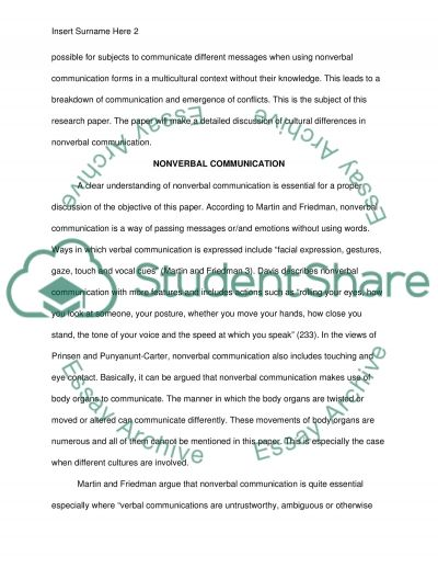 Cultural differences in nonverbal communication essay example