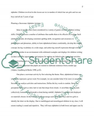 Planning and carrying out a literacy activity to meet the learning goals essay example