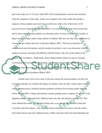 Stress among Student Nurses essay example