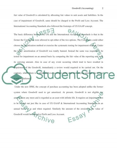 Goodwill essay example
