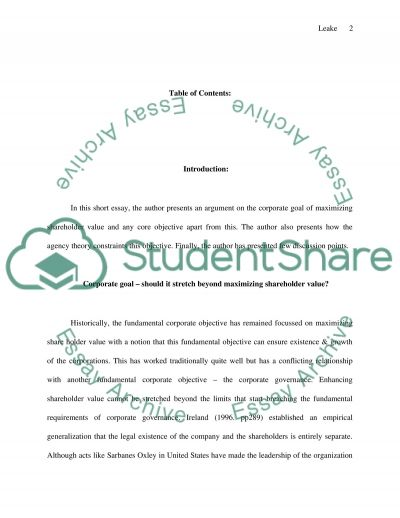 Corporate Goal of Maximizing Shareholder Value essay example