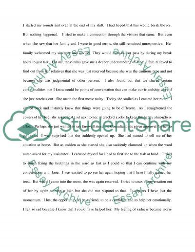 Nursing Care Reflexive Practice essay example
