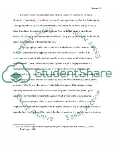 Marketing Segmentation and Targeting essay example